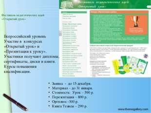Фестиваль педагогических идей «Открытый урок» Всероссийский уровень Участие в
