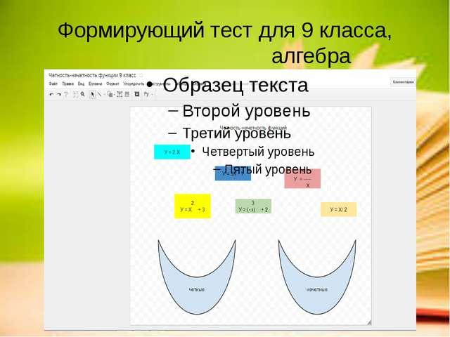 Формирующий тест для 9 класса, алгебра