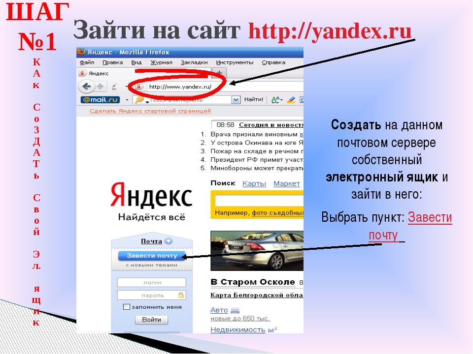 Зайти на сайт http://yandex.ru ШАГ №1 К Ак Со З Д А Т ь Свой Эл. ящик Создать...