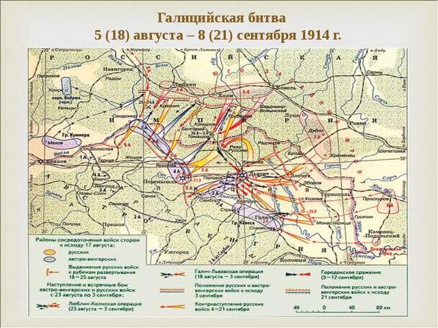 Галицийская битва 5 (18) августа – 8 (21) сентября 1914 г.