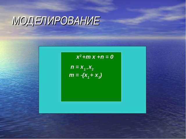 МОДЕЛИРОВАНИЕ x2 +m x +n = 0 n = x1 * x2 m = -(x1 + x2)