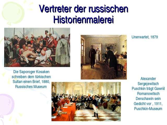 Vertreter der russischen Historienmalerei Die Saporoger Kosaken schreiben dem...