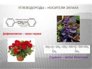 УГЛЕВОДОРОДЫ – НОСИТЕЛИ ЗАПАХА Оцимен – запах базилика Дифенилметан – запах г