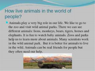 How live animals in the world of people? Animals play a very big role in our