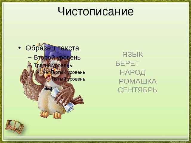 Чистописание ЯЗЫК БЕРЕГ НАРОД РОМАШКА СЕНТЯБРЬ http://aida.ucoz.ru
