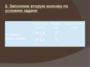 3. Заполним вторую колонку по условию задачи Скорость (км/ч) Время (ч) Рассто