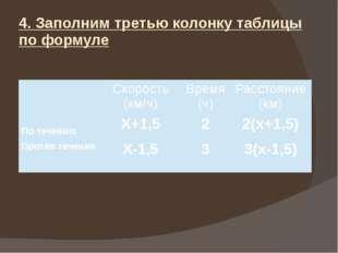 4. Заполним третью колонку таблицы по формуле Скорость (км/ч) Время (ч) Расст