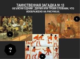 ТАИНСТВЕННАЯ ЗАГАДКА № 13 ОБЪЯСНИ ОДНИМ , ДВУМЯ ИЛИ ТРЕМЯ СЛОВАМИ, ЧТО ИЗОБРА