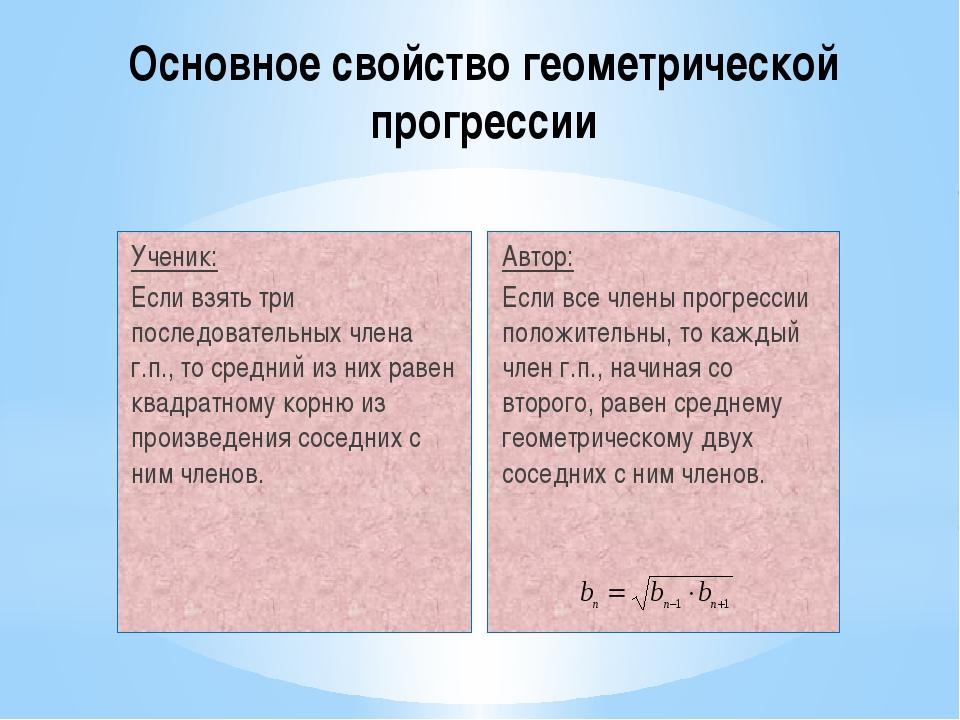 Основное свойство геометрической прогрессии Ученик: Если взять три последоват...