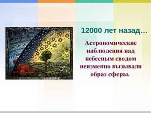 Астрономические наблюдения над небесным сводом неизменно вызывали образ сферы