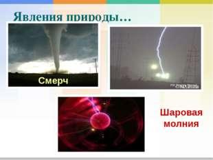 Шаровая молния Явления природы… Смерч