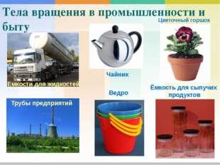 Тела вращения в промышленности и быту Емкости для жидкостей Чайник Цветочный