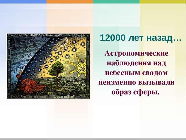 Астрономические наблюдения над небесным сводом неизменно вызывали образ сферы...