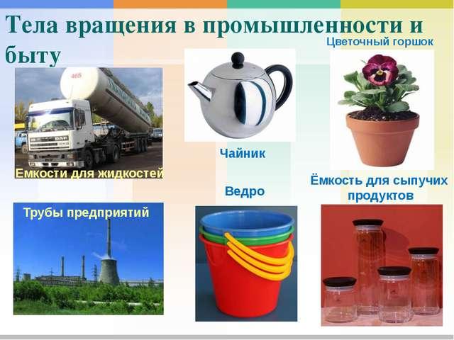 Тела вращения в промышленности и быту Емкости для жидкостей Чайник Цветочный...