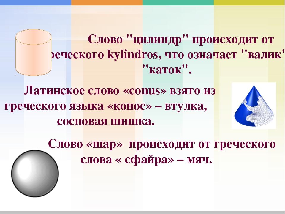 Латинское слово «conus» взято из греческого языка «конос» – втулка, соснова...