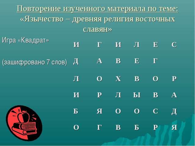 Повторение изученного материала по теме: «Язычество – древняя религия восточн...