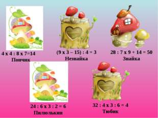 4 х 4 : 8 х 7=14 Пончик (9 х 3 – 15) : 4 = 3 Незнайка 28 : 7 х 9 + 14 = 50 Зн
