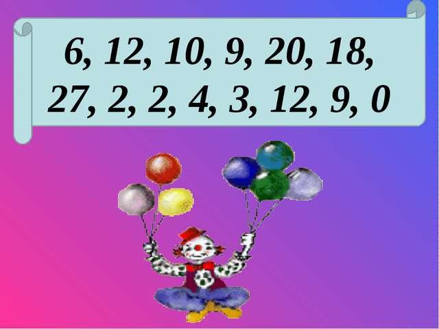 6, 12, 10, 9, 20, 18, 27, 2, 2, 4, 3, 12, 9, 0