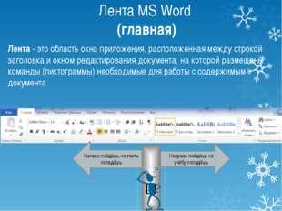 Лента MS Word (главная) Вырезать выделенный фрагмент Вырезать выделенный фраг