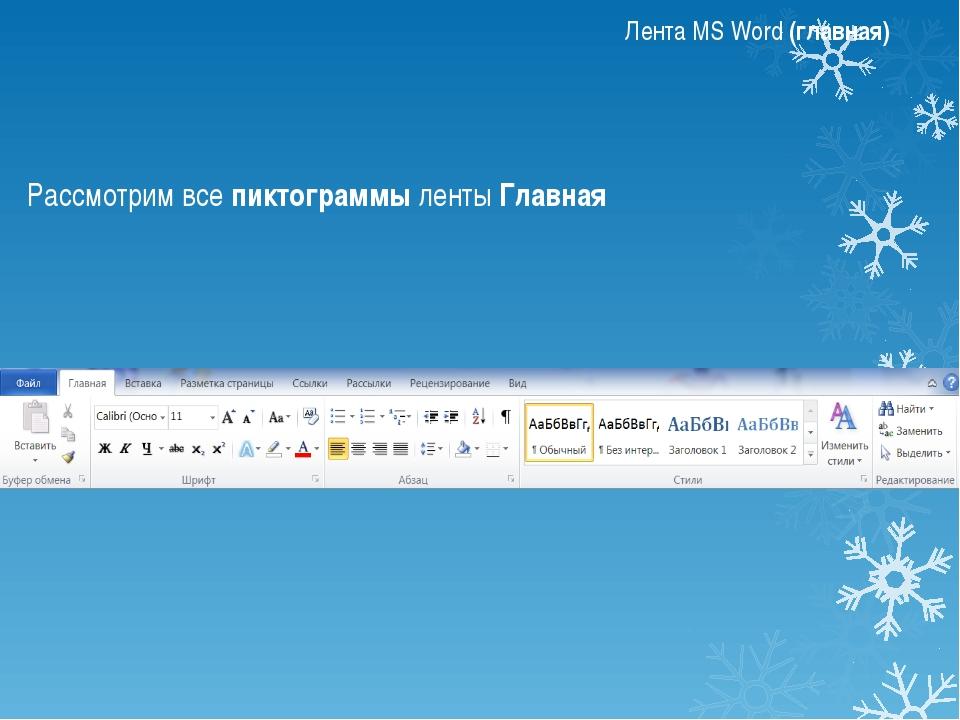Лента MS Word (главная) Группа Шрифт Изменение шрифта Размер шрифта Увеличить...