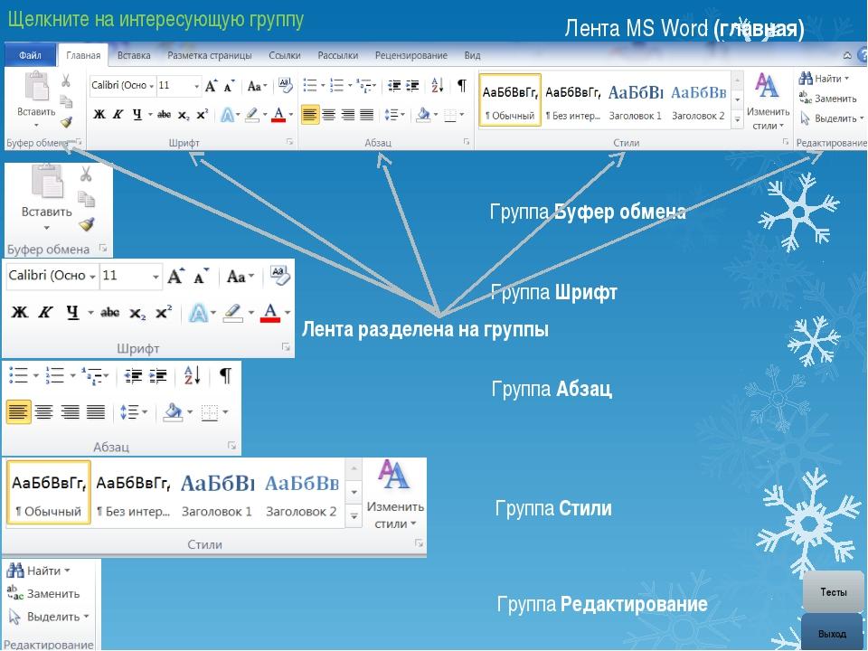 Лента MS Word (главная) Группа Абзац Маркеры Нумерация Многоуровневый список...
