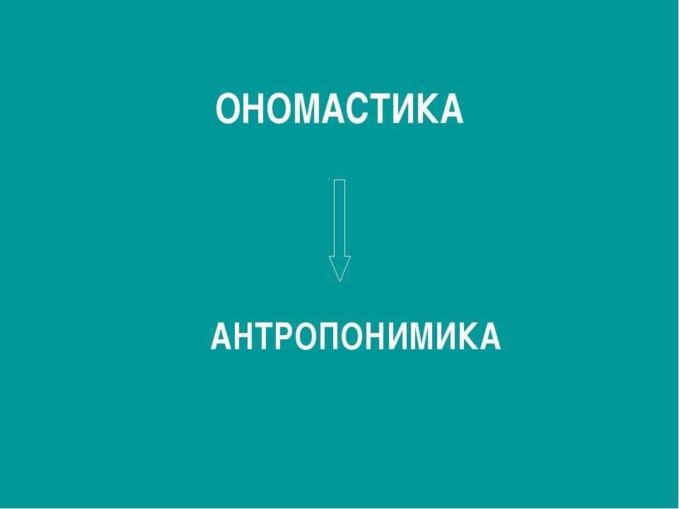 ОНОМАСТИКА АНТРОПОНИМИКА