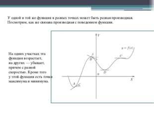 Уодной итойже функции вразных точках может быть разная производная. Посмо