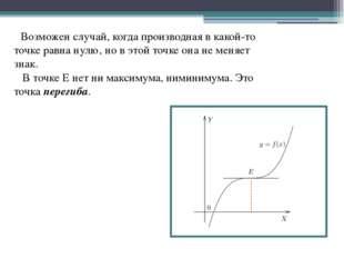 Возможен случай, когда производная в какой-то точке равна нулю, но в этой то
