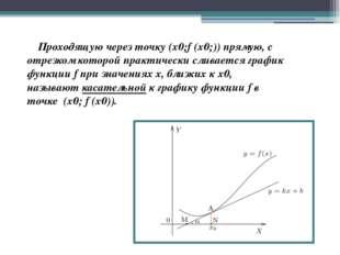 Проходящую через точку (x0;f (x0;)) прямую, с отрезком которой практически с