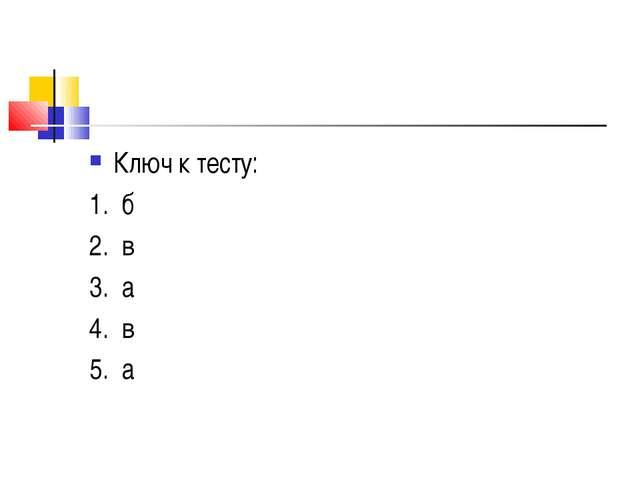 Ключ к тесту: 1. б 2. в 3. а 4. в 5. а