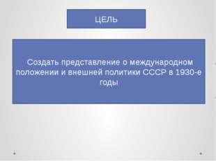 ЦЕЛЬ Создать представление о международном положении и внешней политики СССР