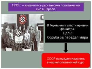 1933 г. – изменилась расстановка политических сил в Европе. В Германии к влас