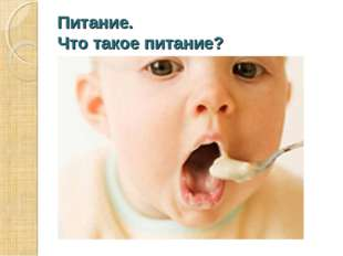 Питание. Что такое питание? Питание – это процесс поглощения пищи.