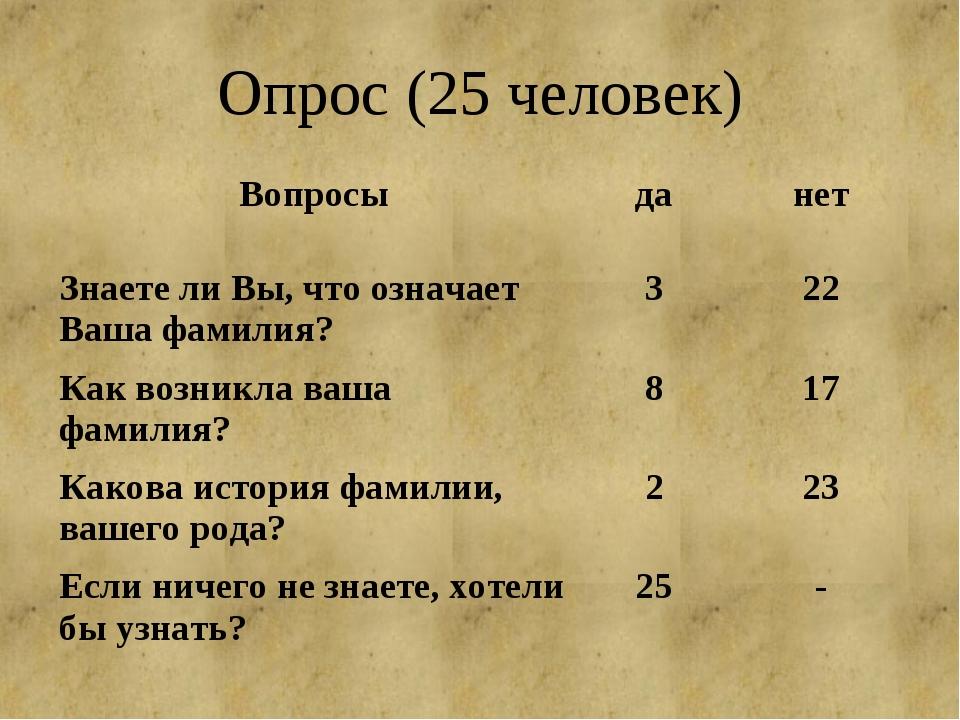 Опрос (25 человек)