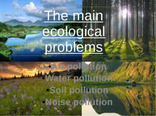 The main ecological problems Air pollution Water pollution Soil pollution Noi