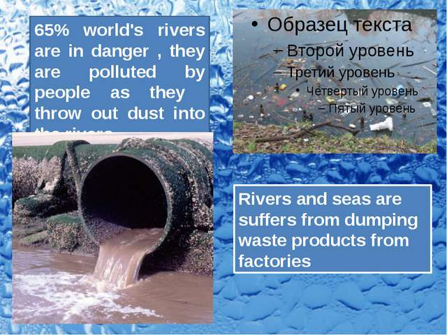 65% world's rivers are in danger , they are polluted by people as they throw...