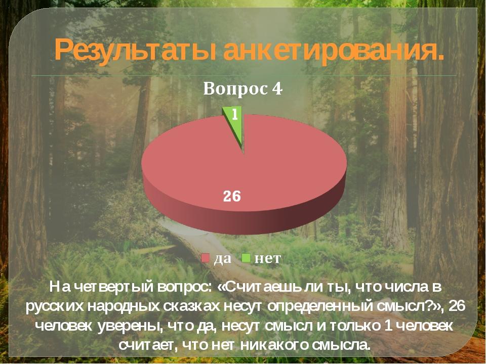 На четвертый вопрос: «Считаешь ли ты, что числа в русских народных сказках не...