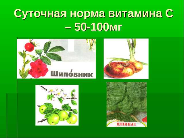 Суточная норма витамина С – 50-100мг