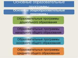 Основные образовательные программы Основные общеобразовательные программы Обр