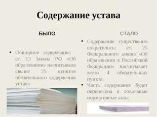 Содержание устава БЫЛО Обширное содержание: ст. 13 Закона РФ «Об образовании»