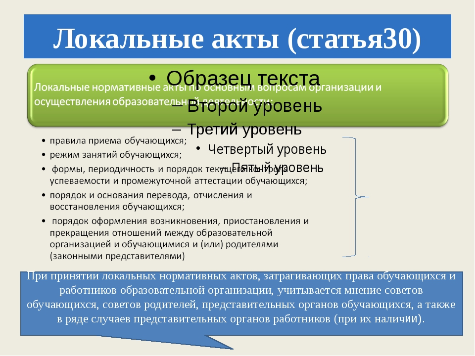 Локальные акты (статья30) При принятии локальных нормативных актов, затрагива...