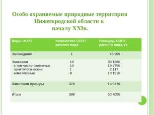 Особо охраняемые природные территории Нижегородской области к началу XXIв. В