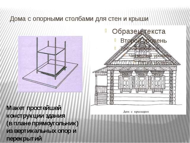 Дома с опорными столбами для стен и крыши Макет простейшей конструкции здани...