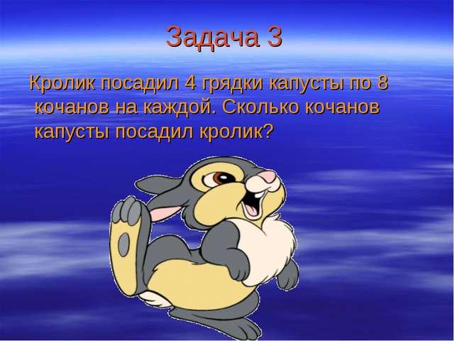 Задача 3 Кролик посадил 4 грядки капусты по 8 кочанов на каждой. Сколько коча...