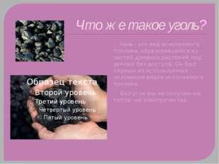 Что же такое уголь? Уголь – это вид ископаемого топлива, образовавшийся из ча