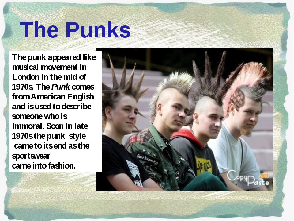 The Punks The punk appeared like musical movement in London in the mid of 19...