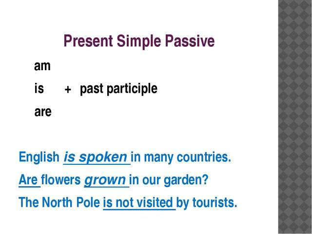Present Simple Passive am is		+	past participle are English is spoken in many...