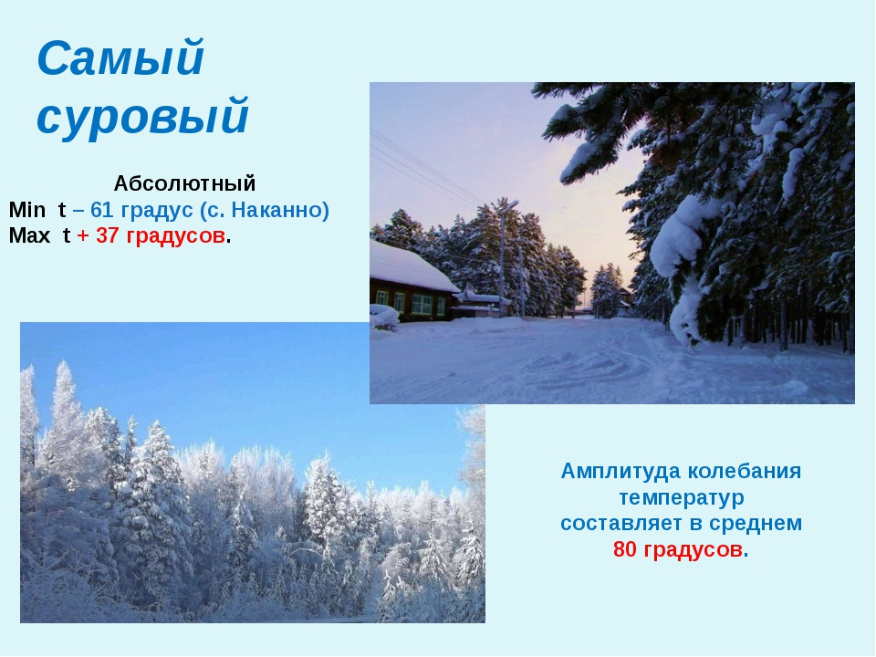 Самый суровый Абсолютный Min t – 61 градус (с. Наканно) Max t + 37 градусов....