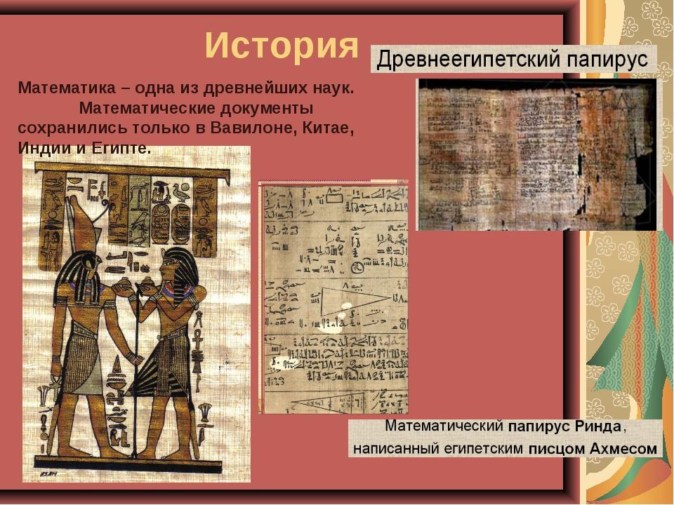 История Математика – одна из древнейших наук. Математические документы сохран...