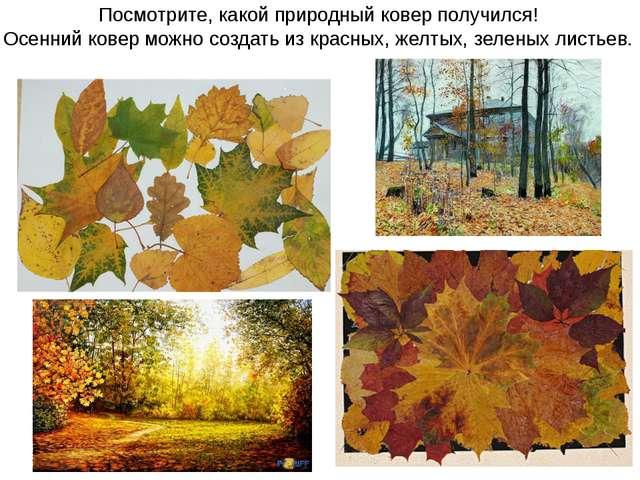 Посмотрите, какой природный ковер получился! Осенний ковер можно создать из к...